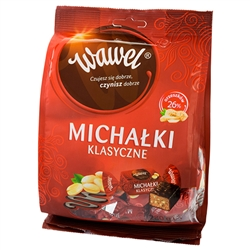 If you've been to Poland you've probably tasted these dark chocolate covered cocoa and nut filled praline delights.  If not now is your chance.  Individually foiled wrapped.   A Krakow specialty.