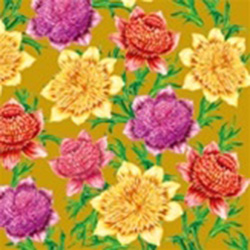 Delightful Dahlia Dinner Napkins (package of 20) - Gold.  Three ply napkins with water based paints used in the printing process.