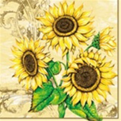 Sunflower Collection Luncheon Napkins (package of 20).  Three ply napkins with water based paints used in the printing process.