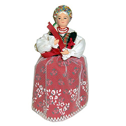 The Krakow costume is considered to be Polands national folk costume and is certainly the best known.  This Krakow girl has a special secret.  She has a hidden compartment under her dress that opens and is ideal for storing small keepsakes, jewelry etc.