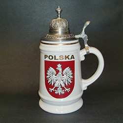 Beautiful White Stein featuring the Polish white eagle on a red crest on two sides.