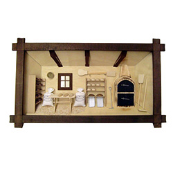 Poland has a long history of craftsmen working with wood in southern Poland. Their workshops produce beautiful hand made boxes, plates and carvings.  This shadow box is a look inside a traditional bakery.  Note the nice attention to detail.
