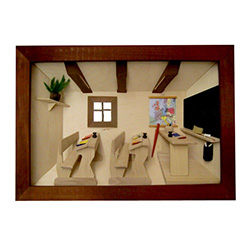 Poland has a long history of craftsmen working with wood in southern Poland. Their workshops produce beautiful hand made boxes, plates and carvings.  This shadow box is a look inside a traditional Polish school room.  Note the nice attention to detail.