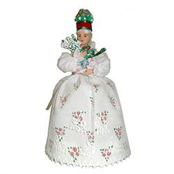The Krakow costume is considered to be Polands national folk costume and is certainly the best known.  This Krakow wedding girl has a special secret.  She has a hidden compartment under her dress that opens and is ideal for storing small keepsakes.