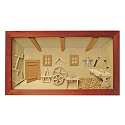 Poland has a long history of craftsmen working with wood in southern Poland. Their workshops produce beautiful hand made boxes, plates and carvings.  This shadow box is a look inside a traditional Polish carpenter's shop