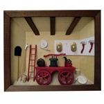 Poland has a long history of craftsmen working with wood in southern Poland. Their workshops produce beautiful hand made boxes, plates and carvings.  This shadow box is a look inside a an old fashioned Polish firehouse.