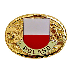 Display your Polish pride with this oval gold plated buckle featuring the Polish flag in the center.