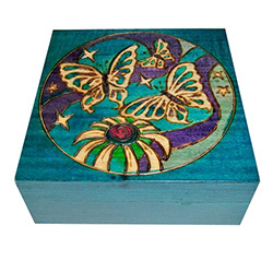 This beautiful box is made of seasoned Linden wood, from the Tatra Mountain region of Poland.  The top is adorned with the butterflies.
