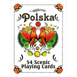 This 54 card deck features a wonderful assortment of scenic views around Poland on the playing side and a colorful Polish paper cut folk design on the backs.