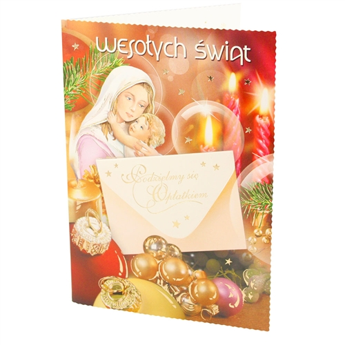 Assorted Polish Religious Christmas Cards With Oplatki Christmas Wafers 10 Pack