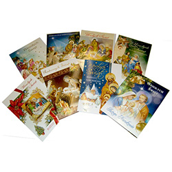 Beautiful assortment of 10 Polish language religious Christmas cards with matching envelopes.     Each card is in its own clear plastic sleeve to protect the contents if mailed.  Polish language text inside too.