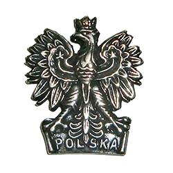 The Polish crowned eagle with Polska (Poland) at the base of this metal magnet.