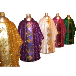 Classic series of beautiful vestment ornaments.  Handed blown and painted in Poland.