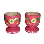 Hand painted wooden egg holders from Poland with beautiful floral patterns.  Sold in pairs only.   9 colors available but we do not have all colors in stock at all times.