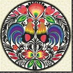 Polish Folk Art Dinner Napkins (package of 20) - 'Morning Sunrise'.  Three ply napkins with water based paints used in the printing process.  The pattern appears on all 4 quarters of this napkin.