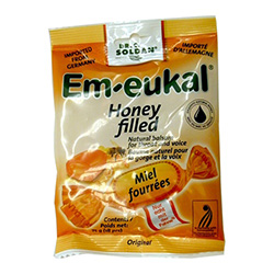 Em-eukal honey throat sweets are a natural balsam for throat and voice.  Each sweet is filled with exquisite natural honey and ensures a soothing effect and a mild flavor.