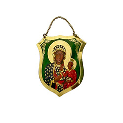 Impressive brass metal shield featuring Our Lady of Czestochowa.