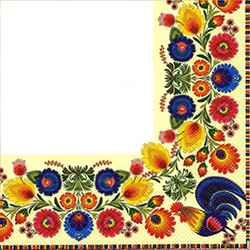 Dinner Napkins (package of 20) - 'Regal Feast - White'.  Three ply napkins with water based paints used in the printing process.  A white center with a full color traditional Lowicz Wycinanki (paper cut out) pattern that boarders the whole napkin