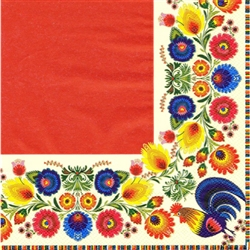 'Regal Feast'.  Three ply napkins with water based paints used in the printing process.  They have a red center with a full color traditional Lowicz Wycinanki (paper cut out) pattern that boarders the whole napkin!