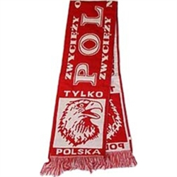 "Display your Polish heritage!  Polska scarves are worn in Poland at all major sporting events.  Features Poland's national symbol the crowned white eagle bordered by the phrase ""Tylko Polska"",  ""Zwyciezy Orzel Bialy"" - ""The White Eagle Prevails"" and ""Zwyc"