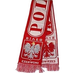 "Display your Polish heritage!  Polska scarves are worn in Poland at all major sporting events.  Features Poland's national symbol the crowned white eagle bordered by the phrase ""Bialo Czerwoni"" - ""White and Red""."