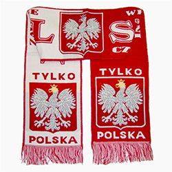 "Display your Polish heritage!  Polska scarves are worn in Poland at all major sporting events.  Features Poland's national symbol the crowned white eagle bordered by the phrase ""Tylko Polska"" - ""Only Poland"" ,  ""Zawsze Wierni"" - ""Always Faithful"" and Bial"
