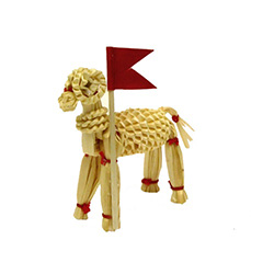 Decorate your home with a little bit of Polish folk art. These straw decorations are made entirely by hand by a single family from the Lublin area where ornaments made of straw is an old tradition. The straw on this ram is intricately braided and hand tie
