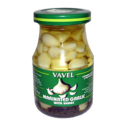 These pickled cloves have an earthy, herby flavor. Firm to the bite they are ideal for use on a relish tray, chopped up in salads, as a garnish, or right out of the jar.