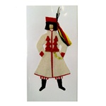 This card is dressed with material and wooden head to give a very special doll-like effect.  The Krakowiak costume is considered to be Poland's national folk costume.  Here our Krakowiak man is dressed in the traditional wedding costume.