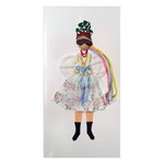 This card is dressed with material and wooden head to give a very special doll-like effect.  The Krakowiak costume is considered to be Poland's national folk costume.  Here our Krakowianka maiden is dressed in the traditional wedding costume.