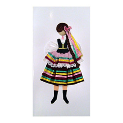 This card is dressed with material and wooden head to give a very special doll-like effect.   Here our Lubliniank maiden is dressed in the traditional costume from Lublin.