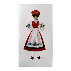 This card is dressed with material and wooden head to give a very special doll-like effect.   Here our Kaszub maiden is dressed in the traditional parade costume.