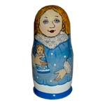 "This is the doll that accompanies the book, ""How the Russian Snow Maiden Helped Santa.  The book tells the story of a child's self-discovery while it introduces a bit of Russian and a few traditions of a far-away country.  The accompanying 5 pieced doll i"