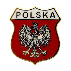 The White Eagle Polish: Orzel Bialy is the national coat of arms of Poland. It is a stylized white eagle wearing a golden crown, in a red shield.  This attractive replica pin features the word Polska.