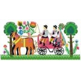 A Polish paper cut scene of a traditional wedding couple from the Lowicz region being driven to their reception.