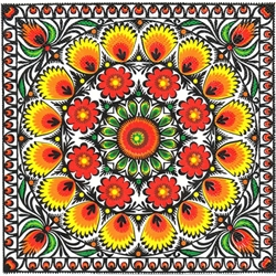 Polish Folk Art Dinner Napkins (package of 20) - 'Paper Cut Sunlight'.  Three ply napkins with water based paints used in the printing process.  The pattern appears on all 4 quarters of this napkin.