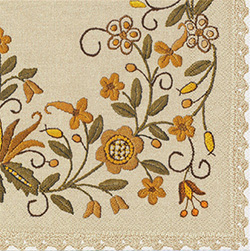 Polish Folk Art Dinner Napkins (package of 20) - 'Paper Cut Golden Sunlight'.  Three ply napkins with water based paints used in the printing process.  The pattern appears on all 4 quarters of this napkin.