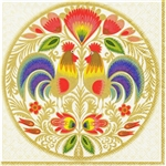 Polish Folk Art Dinner Napkins (package of 20) - 'Golden Sunrise'.  Three ply napkins with water based paints used in the printing process.  The pattern appears on all 4 quarters of this napkin.