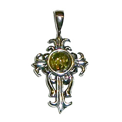 Stylized sterling silver cross pendant with a center of green amber.