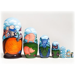 We are pleased to offer this beautiful rendition of the traditional Russian tale of the Gigantic Turnip. Each of the 7 dolls nested inside each other has a different animal pictured that goes along with the story of the old man and woman who needed help t