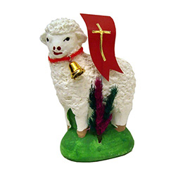 There is nothing quite more symbolic of a Polish Easter than the Easter lamb with palms and the banner with cross.  It's the symbol of the Risen Christ and his victory over death.  Our Easter lamb is made of plaster and hand painted and decorated.  A perf