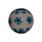 Authentic Boleslawiec Stoneware bead, hand decorated in predominantly blue and green patterns.  These can be strung into a necklace, or used as door knob pulls, or whatever unique craft idea you might imagine.