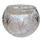 This is genuine Polish hand-cut 24% lead crystal bowl with a traditional starburst cut design.