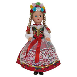 This doll, dressed in a handmade traditional Krakowianka outfit, wonderfully crafted and fun to collect.  The detailed costume is hand made in Krakow.