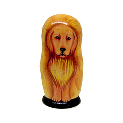 This nesting doll features a golden retriever, red dachshund, Schnauzer, spaniel, and Eskimo-dog puppy. A great gift for animal lovers.