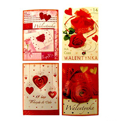 Set of 4 romantic Valentine's Day postcards with Polish text. Surprise your favorite Valentine with a genuine Polish card.