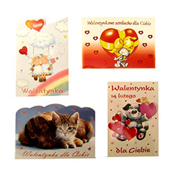 Set of 4 playful Valentine's Day postcards with Polish text. Surprise your favorite Valentine with a genuine Polish card.