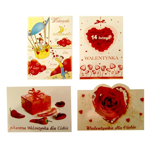 Set Of 4 Romantic Valentineu0027s Day Postcards With Polish Text. Surprise Your  Favorite Valentine With