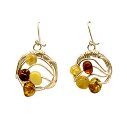 Very original contemporary design wire-woven multi-color amber earrings, in a semi-circle shape.  Amber beads are honey, citrine, cream-colored and cognac.  Matching pendant available - item 9704281.