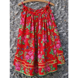 "Krakow flowered skirt. One size fits most women up to 65"" tall (5' 5""). Stretch elastic waistband. Skirts measure 27""-29"" long (69-74cm) and can be rolled at the top to shorten the skirt if necessary. For larger sizes please call our toll free number."